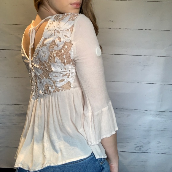 Pink Flouncy Blouse with Lace Detailing